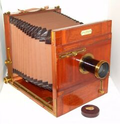 Plate Antique Wooden Camera 23x23 Falz And Werner Leipzig, Two Lenses Extra Rapid