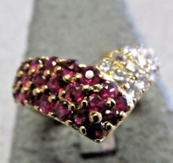 Beautiful Estate 18k Gold Ruby And Diamond Ring Size 5.5 Make Offer