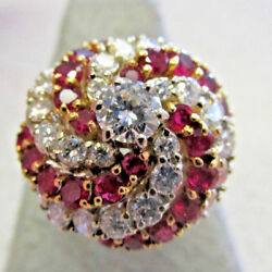 Highest Quality 18k Gold Ruby and Diamond Cocktail Ring size 8   Make Offer