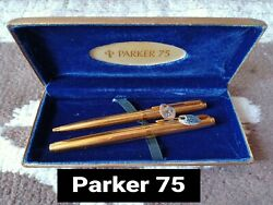 A Pair Of Vintage Parker 75 Insignia Rolled Gold Fountain And Ballpoint Pen Nos