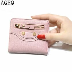 Female beautiful purses money fine leather Bag Womens Short Small wallets For Gi