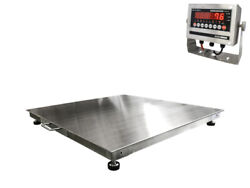 4and039x4and039 48x48 Stainless Steel Floor Scale And Indicator   1000 Lbs X .2 Lbs