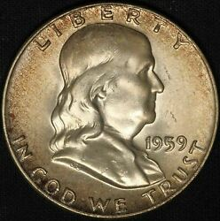 1959-d Franklin Silver Half Dollar - Nicely Toned - Free Shipping Usa