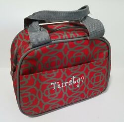 Initials Inc. Insulated Lunch Tote Cooler Thermal Red with Gray Design Thirsty