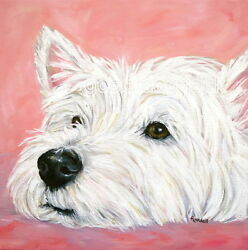 West Highland Terrier WESTIE MATTED SQUARE PRINT Painting CONTEMPLAT