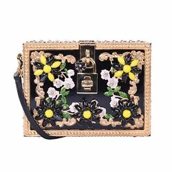 DOLCE & GABBANA Crystals Studded Evening Bag Clutch DOLCE BOX DAISY Black 06508