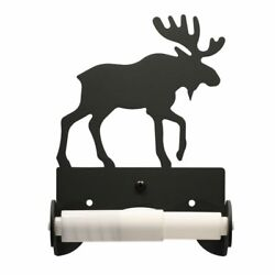 Wrought Iron Moose Toilet Tissue Paper Holder Country Bathroom Wall Hardware