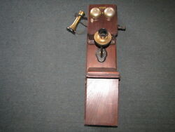 Bell Mfg Company Wall Mount 2 Box Telephone With Brass Mouthpeice And Ear