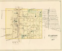 Easton Md. 1877 Town Map Poster 17x22 Talbot County Copy From Rare Original