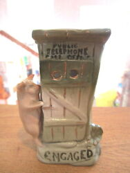 Antique Pink Pig W/telephone Booth Souvenir Fairing Germany