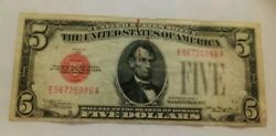 1928 C 5 Dollar Bill Federal Reserve Note Currency Red Seal J801