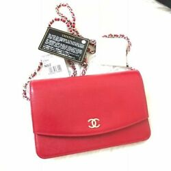 AUTH NWT CHANEL CLASSIC  WALLET ON CHAIN WOC CAVIAR RED SHW FLAP CROSSBODY BAG