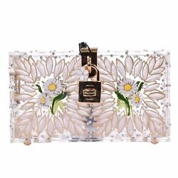 DOLCE & GABBANA Painted Metallic Crystals Perspex Clutch Bag DOLCE BOX 06511