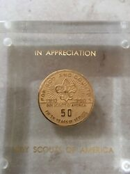 Boy Scout 50 Years Of Service Appreciation Coin. Dated 1910-1960 Excellent Co