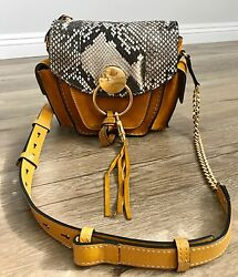 Chloe Jodie Small Suede & Snakeskin Leather Camera Bag Sunflower Yellow $2000+