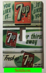 Old 7up Soda Poster Light Switch Power Outlet Wall Cover Plate Home Decor