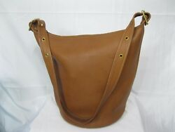 Vintage Coach Tan Leather Feed Bucket Shoulder Bag 6038 Made In USA