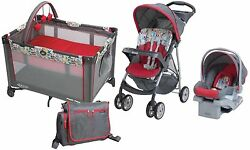 Graco Baby Stroller with Car Seat Portable PlayYard Backpack Diaper Bag Bundle