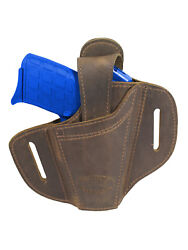 New Barsony Ambidextrous Brown Leather Pancake Holster 380 Ultra Compact 9mm 40