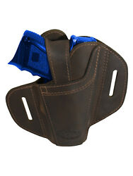 New Barsony Ambidextrous Brown Leather Pancake Holster For Compact 9mm 40 45