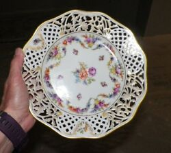 Vintage Schuman Germany Reticulated Plate Floral Design 9 Orange And Purple