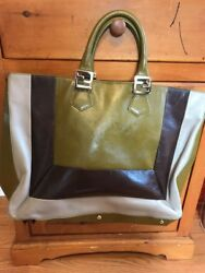 FENDI Olive Grey 2Jours Medium Leather Shopping Tote Bag W Cross body Strap