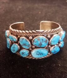 Vintage Charles Johnson , Sterling Silver And Natural Turquoise Nugget Cuff