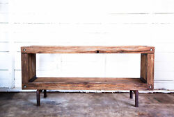 Brutalist Tv Media Console Entertainment Center Hand-made Salvaged Vintage Wood
