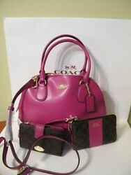 New With Tags Coach 3-Piece Set Medium Domed Cora Bag Wristlet and Wallet