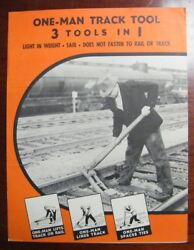 Rare Vintage Railroad 3 Tools In 1 Track Tool By Supply Co Brochure