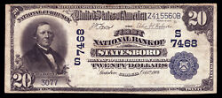 20 1902 First National Bank Of Statesboro Georgia Ch 7468 Unique For Denom/type