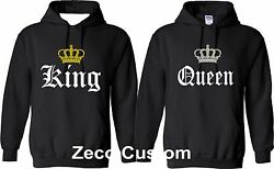 KING AND QUEEN HOODIES Old English Font MATCHING CUTE LOVE his her COUPLES