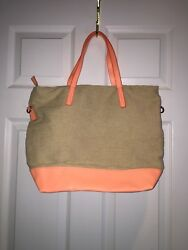 Old Navy Canvas Leather Tote Beach Bag Neon Pink Zippered Top