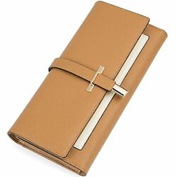 Clearance RFID Blocking Leather Wallet For Women Slim Clutch Purse Long Designer