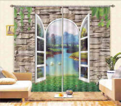 Nature View Outside 3d Curtain Blockout Photo Printing Curtains Drape Fabric