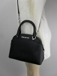 NWT MICHAEL KORS LEATHER EMMY SMALL DOME SATCHEL BAG BLACK PURSE CROSSBODY