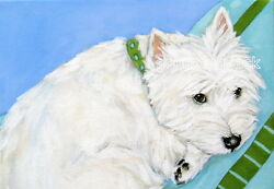 West Highland Terrier WESTIE MATTED PRINT Painting