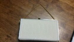 Vintage  BEADED  Faux Pearl ClutchEvening Purse  BAG WITH GOLD CLAPS AND CHAIN