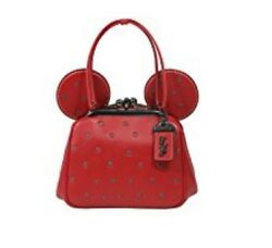 Coach Mickey Bag Crossbody Saddle Leather Minnie Ears KissLock red polkadot