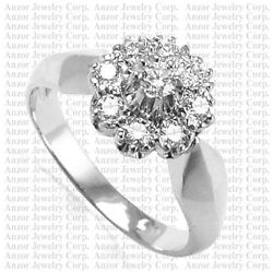 14k Solid White Gold Diamond Ring Russian Style Jewelry Sizes 4 To 9.5 R1748