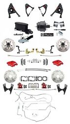 1967-69 Camaro Red Wilwood Front Calipers Control Arms Line Kit Black Booster