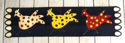 WOOL APPLIQUE PENNY RUG PATTERN RUNNER CHICKENS EGGS POLKA DOTS *NEW*