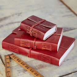 Fair Trade Handmade Embossed Leather Journal Diary Eco Friendly Recycled Paper