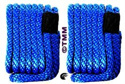 2 New Blue Solid Braid Mfp 3/8 X 15and039 Ft Boat Marine Dock Lines Mooring Ropes