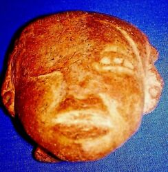 Museum Grade Prehistoric Statue Indian Artifacts Head carved Face and pony tail