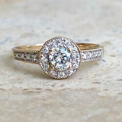 14 Kt Yellow Gold Pave Diamond Halo Band Ring Custom Vintage Antique Replica New