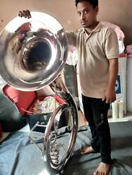 Sousaphone Big Size 25 Bell In Chrome Polish + Mouthpc + Case Best Offer Ever