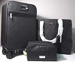 Michael Kors Signature Black Travel TrolleyTote & Pouch Luggage Set