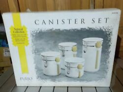 Furio Home White Ceramic Canister 4pc Set Natural Collection Locking Lids New