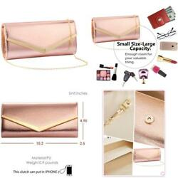 Women Evening Party Clutch Bags Bridal Wedding Purse ROSE GOLD Evening Party